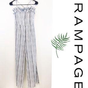 Rampage black white striped ruffle bust jumpsuit M